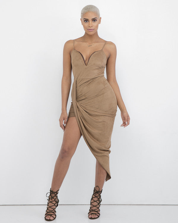 WRAP THAT Nude Asymmetrical Dress at FLYJANE | Wrap Dress | Cute Contemporary Dresses for Fall | Suede Wrap Dress | Kim Kardashian Nude Dress