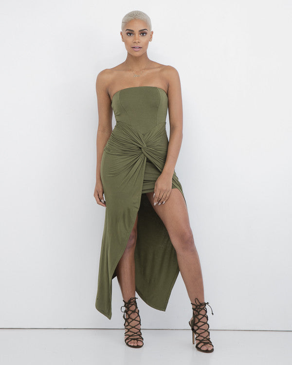 ABOUT LAST NIGHT Olive Strapless Wrap Dress at FLYJANE | Olive Green Strapless Dress | Designer Wrap Dress | Fall Fashion at FLYJANE