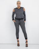 KNITTY GRITTY Grey Open Shoulder Sweatsuit at FLYJANE | Grey Sexy Sweatsuit | SweatPants | Sweatshirt | Cute Casual Loungewear and Sweatsuits at FLYJANE