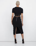 HIGH TIMES Cutout Bodycon Maxi Skirt Set at FLYJANE | Black Maxi Skirt Set | Pencil Skirt Set | Black Outfit | Black Bodycon Pencil Skirt with Cutouts