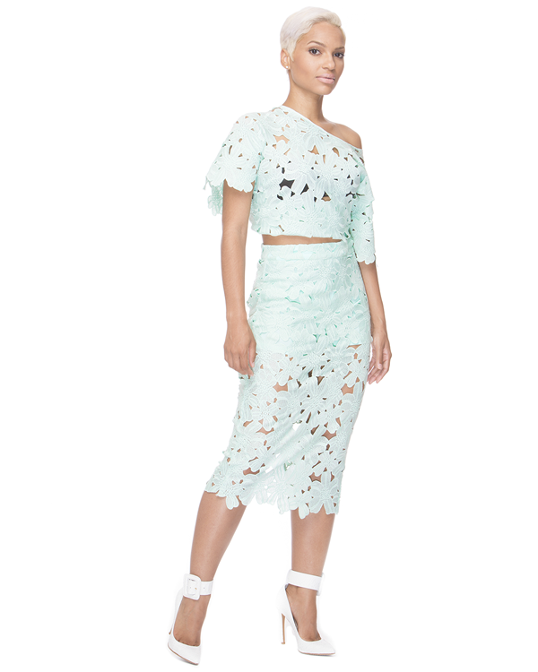 SELENE FLORAL MIDI SKIRT SET - MINT