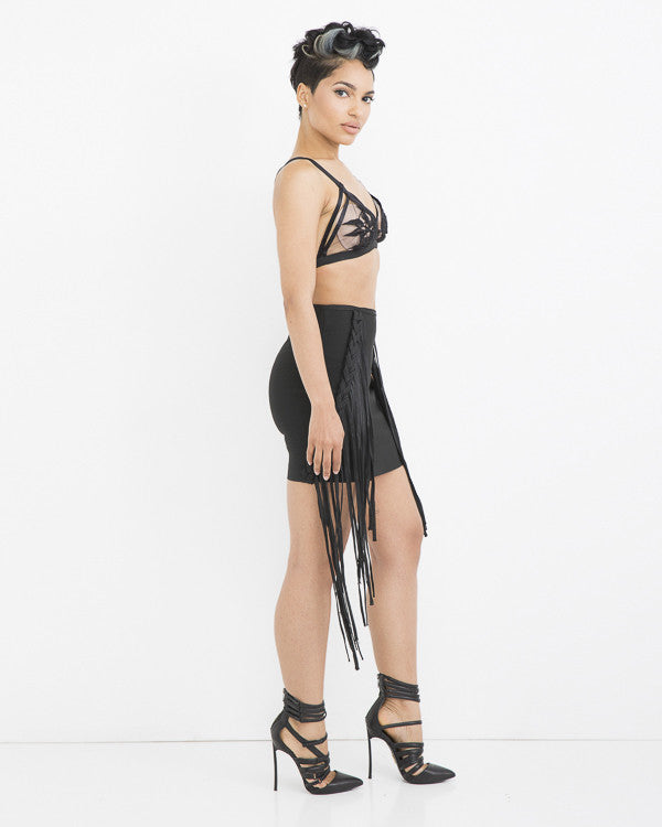 FRINGE BENEFIT Bandage Skirt in Black at FLYJANE | Bandage Skirts | Bandage Dresses | Black Mini Skirts | Fringe Skirts | Bandage Fringe Skirt | Club Clothes