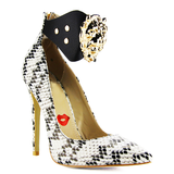 QUEEN OF THE THRONE Snake Pump in Black White at FLYJANE
