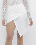 HILLARY Ruched Wrap Skirt in White at FLYJANE | Cute Spring Wrap Skirts | Lace Bodysuits | Follow FLYJANE on Instagram at @FlyJane | White Skirts