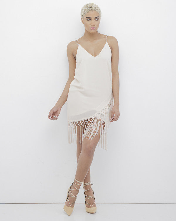 Matilda Fringe Wrap Dress In Beige At Flyjane