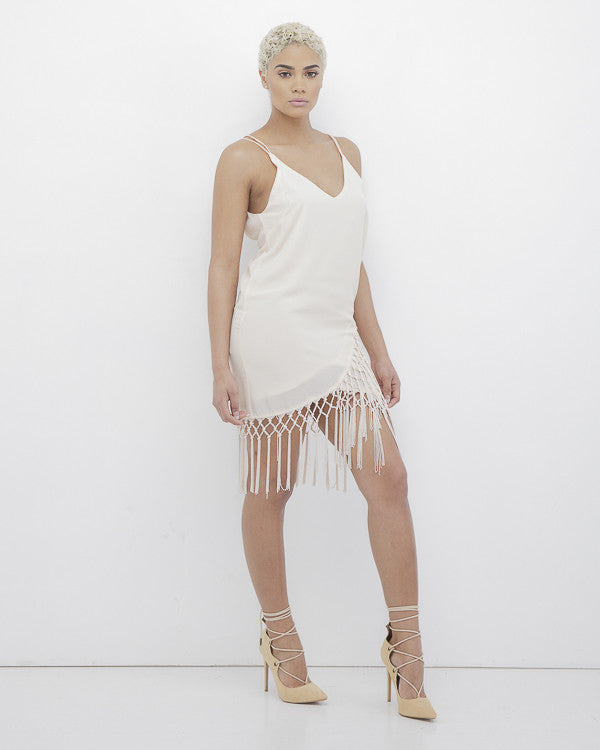 MATILDA LOVE Fringe Wrap Dress in Beige at FLYJANE | Super Cute Fringe Wrap Dress | Way Cute Spring Sundresses w/ the Cute and Contemporary | Follow us @FlyJane