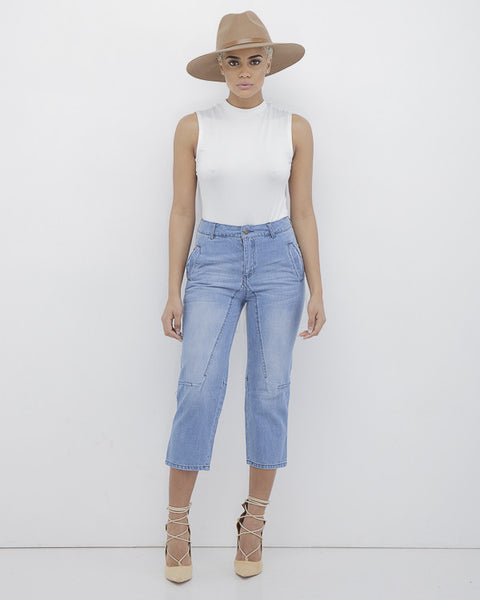 CALI GIRL Distressed Denim Culottes at FLYJANE | Distressed Denim Capris Jeans Long Shorts | Cute Denim Jeans under $100 | Follow Us on Instagram at @FlyJane
