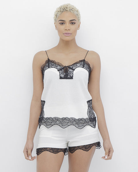 I STILL LOVE YOU Lace Short Set in White and Black at FLYJANE | Lace Shorts Set | Black and White Linen Short | White with Black Lace Shorts Set by Endless Rose