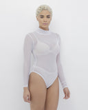 CHANTILLY Sheer White Mock Neck Bodysuit at FLYJANE | Mock Neck Sheer Bodysuit under $50 | Kim Kardashian White Sheer Bodysuit | White Sheer Bodysuit