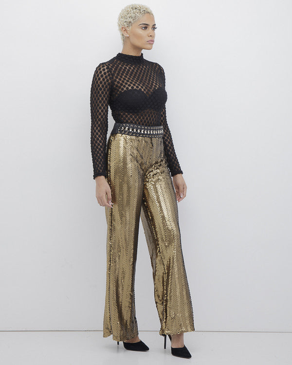 BOOGIE NIGHTS Gold Sequin Palazzo Pants at FLYJANE | Sequin Flare Pants | Gold Sequin Palazzo Pants | Birthday Outfits | Cute Looks for Spring at FLYJANE