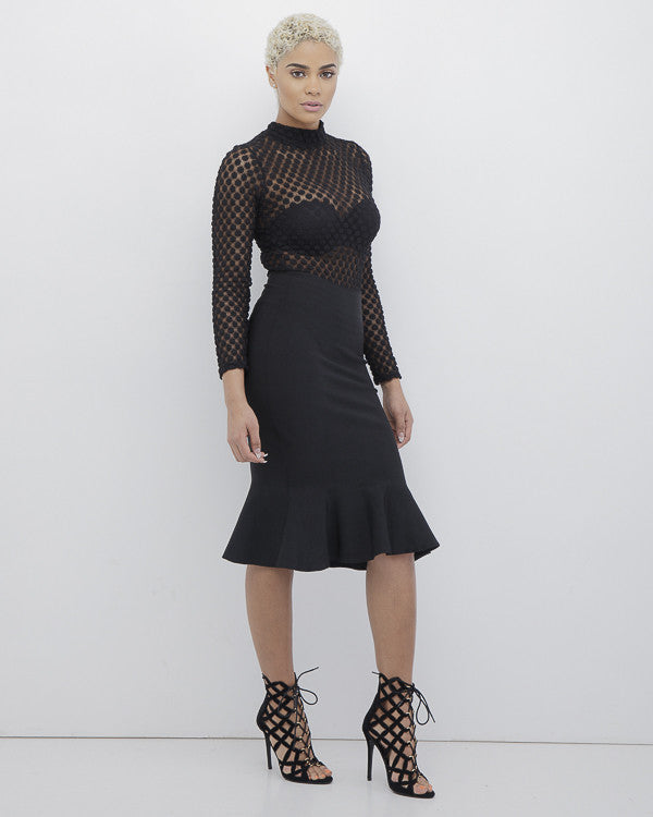RHONDA Fish Tail Bodycon Skirt in Black at FLYJANE | Bodycon Skirt | Fish Tail Midi Skirt in Black | Black Skirt | Curve Hugging Skirt in Black