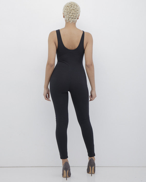 KNIT FIT Jersey Bodysuit Catsuit in Black at FLYJANE | Black Bodysuit | Black Leggings | Black Catsuit | Knit Jersey One Piece Leggings Catsuit | Fit Chicks