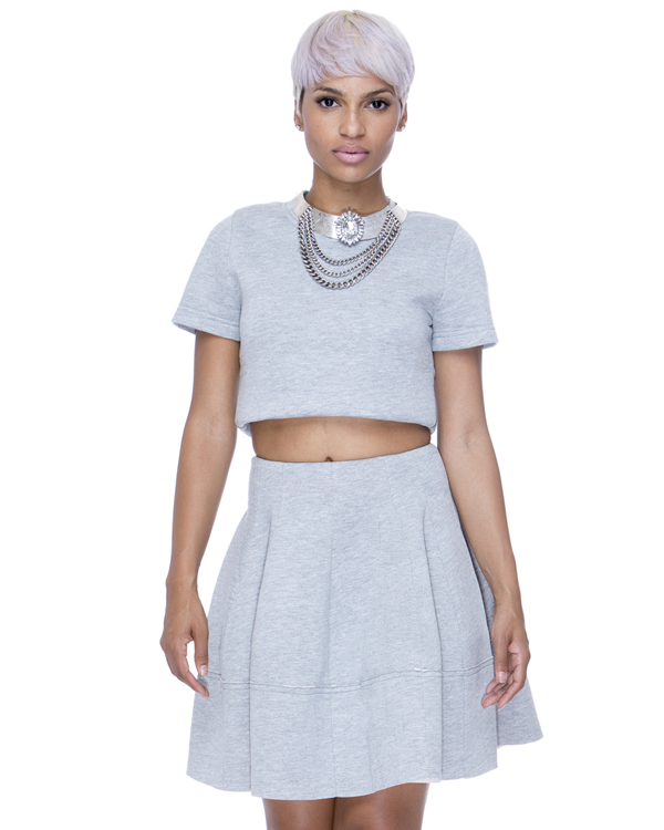 TAYLOR MADE Pleated Skirt Set in Grey by Renamed at FLYJANE