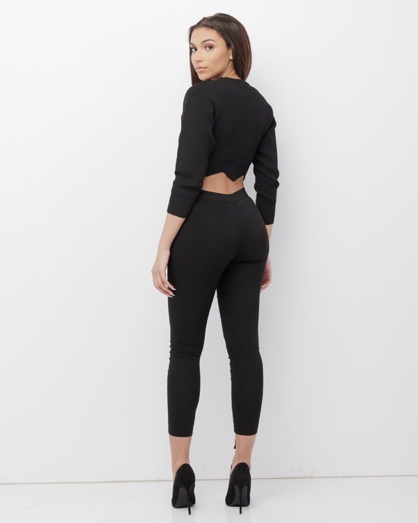 GARCELLE Lace Up Stretch Pants at FLYJANE | High Waist Stretch Pants with Lace up Detail in Front | Black Pants | Black Lace Up Pants