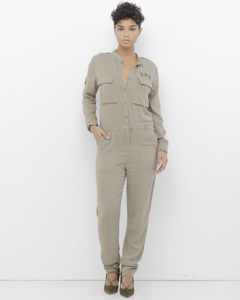 NAIMEH Military Utility Jumpsuit in Olive at FLYJANE | Dress Military Inspired Dressy Women