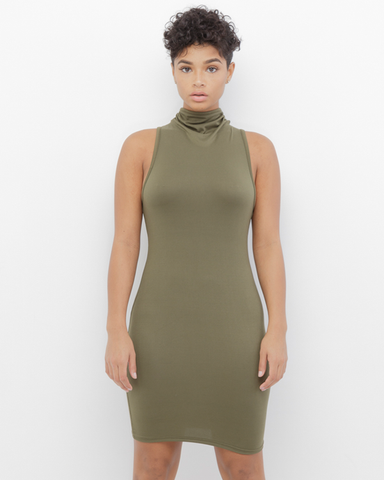 ELINA Mock Neck Mini Dress in Olive at FLYJANE | Olive Green Mini Dress with Lace Up | kim kardashian Olive Green Dress | Follow Us on Instagram at @FlyJane