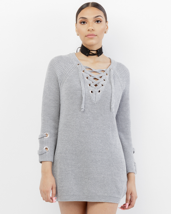 EMBLER Grey Oversized Lace-Up Sweater at FLYJANE   | Cozy Lace Up Sweater in Grey | Cute Oversized Lace Up Sweater in Grey | Cute Sweaters under $50