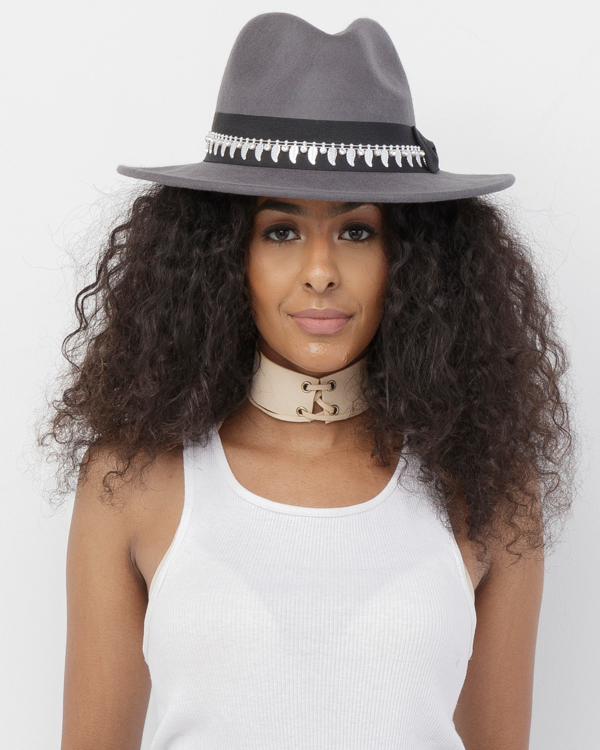 ARMA Wool Wide Brim Fedora Hat in Grey at FLYJANE | Grey Fedora Hat | Wide Brim Flat Brim Fedora Hat | Grey Hats | Cool Fedoras for Spring Fashion Street Style