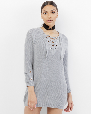 EMBLER OVERSIZED LACE UP SWEATER - GREY