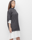 OSHII Oversized Sweatshirt Pullover Dress in Grey at FLYJANE | Sweatshirt Button Up Blouse Dress | Contemporary Style and Street Style at FLYJANE