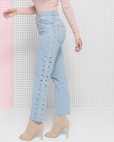 HOLED UP Grommet Cropped Length Denim Jeans at #FADE Denim Shop FLYJANE | Shop Streetstyle Denim Fashion at FADE ShopFlyJane.com |  Christina Milian Holed Jeans