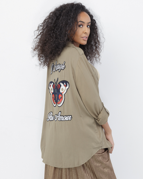 BLIND LOVE Olive Embroidered Blouse at FLYJANE | Embroidered L