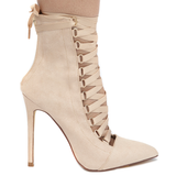 GISELE Lace Up Suede Bootie in Nude at FLYJANE | Nude Suede Bootie | Lace Up Bootie for Fall | Gisele Nude Lace Up Ankle Boots | Cute Booties for Fall at FLYJANE