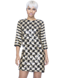 Endless Rose HELIX Sequin Shift Dress in Gold at FLYJANE