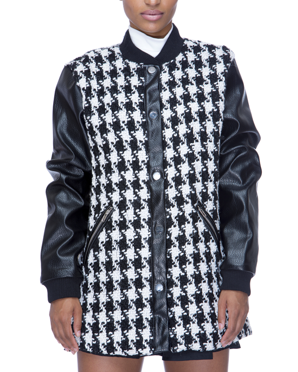 UPTOWN BOUND Houndstooth Coat in Black and White by Endless Rose at FLYJANE