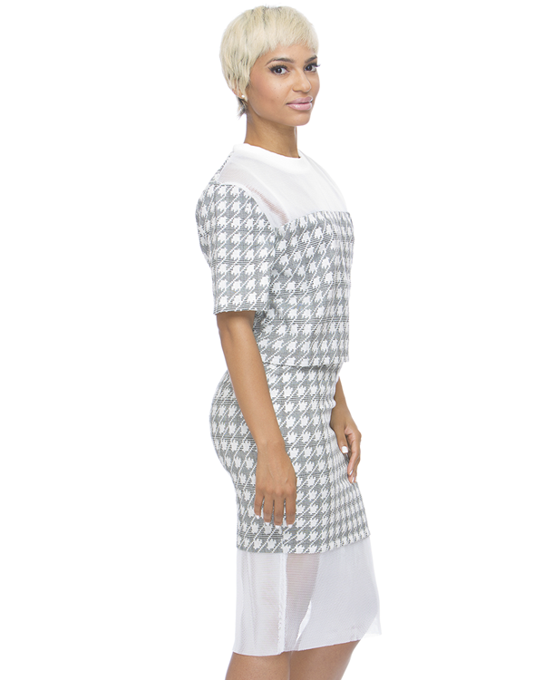 REALITY CHECK Houndstooth Skirt Set at FLYJANE