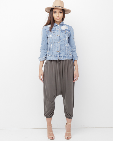 KHARI Harem Pants at FLYJANE | Grey Harem Pants | Blue Jeans | Nude Denim Harem Pants Jeans | Follow us on Instagram at @FLYJANE