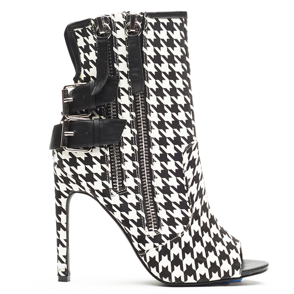 Privileged ISHANTI Houndstooth Peeptoe Bootie at FLYJANE