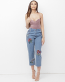 RUUMI Embroidered Cropped Cut Denim Jeans  | Honey Punch Embroidered Jeans | Cropped Cut Denim Jeans | Follow us on Instagram at @FlyJane | Street Style Fashion