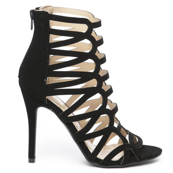 JULIANNA Cutout Heel in Black at FLYJANE | Nubuck Cutout High Heel Bootie | Cute Cut Out Open Toe Heel Sandal Bootie in Black under $50 | Cute Shoes under $50