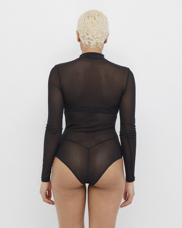CHANTILLY Sheer Black Mock Neck Bodysuit at FLYJANE | Mock Neck Sheer Bodysuit under $50 | Kim Kardashian Black Sheer Bodysuit | Trendy Fashion and Celebrity St...