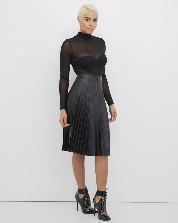 PIPPA Faux Black Leather Pleated Skirt at FLYJANE | Black Leather Skirt | Black Pleated Skirt | Cute Contemporary Spring Clothes under $100 | Kendall Jenner