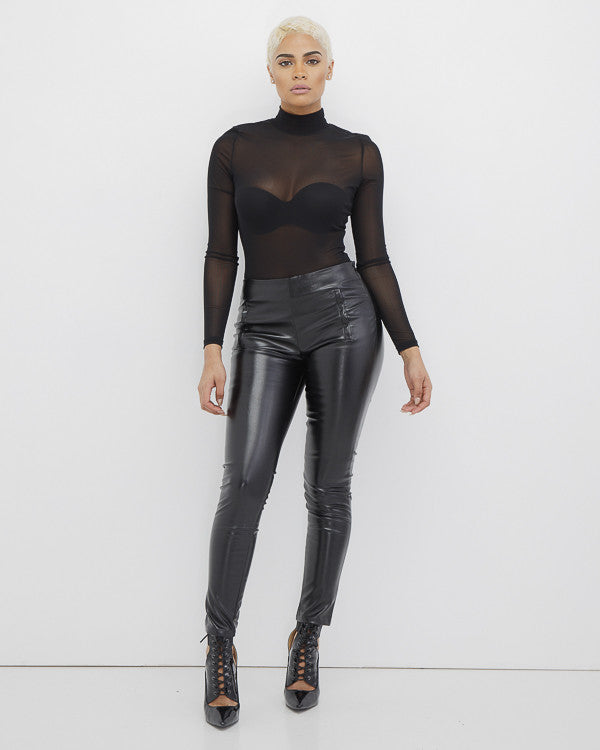 JAGGER Black Faux Leather Pants at FLYJANE | Black Leather Pants | Black Cropped Leather Pants | Six Crisp Days Black Leather Pants | Kendall Jenner Pants