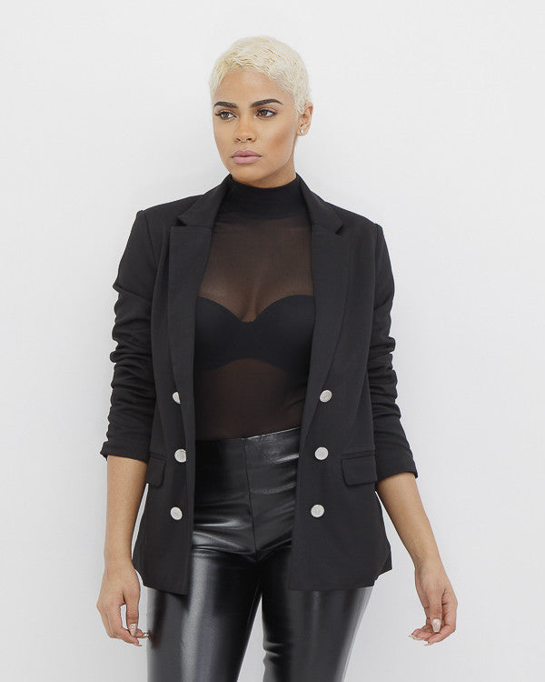 THE SHOT CALLER Black Single Breasted Blazer at FLYJANE | Black Balmain Inspired Blazer | Black Women's Blazer under $100 | Contemporary Juniors Fashion
