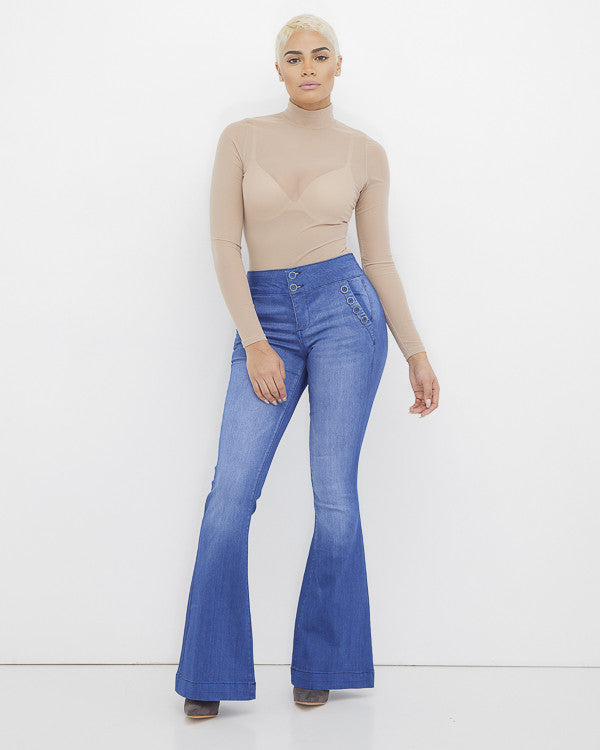 STEVIE FLACKO Denim Flare Jeans at FLYJANE | Denim Bell Bottom Jeans | Celebrity Pink Flare Jeans | Kendall Jenner Flare Jeans | Follow us on Instagram @FlyJane