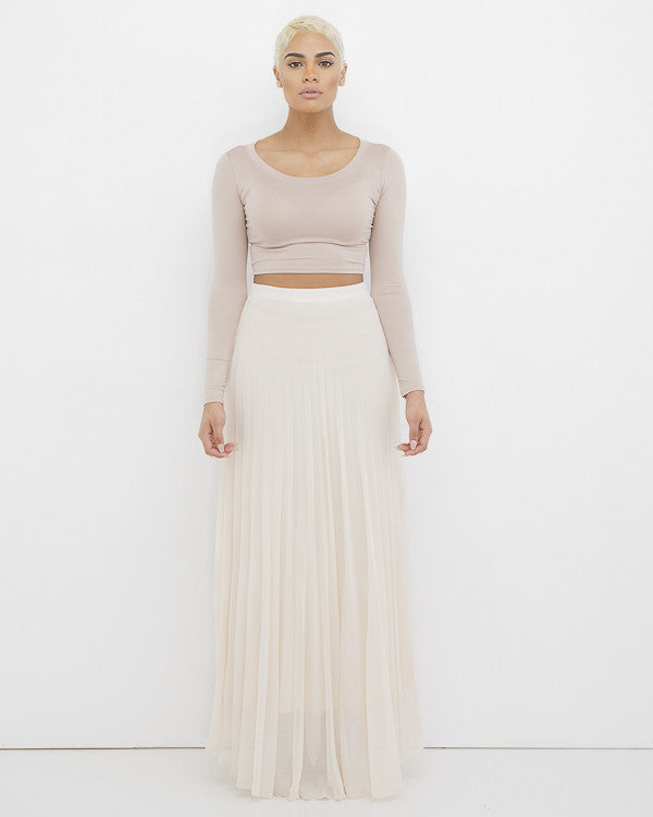 ACCORDING TO JANE Pleated Maxi Skirt in Beige at FLYJANE | Accordion Skirt | Beige Maxi Skirt | Nude Pleated Skirt | Follow us on Instagram at @FlyJane