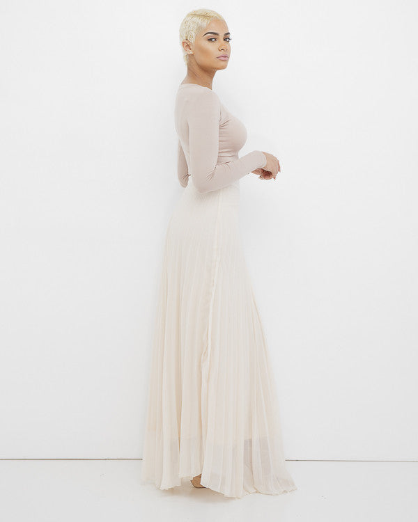 according to pleated maxi skirt in beige at flyjane