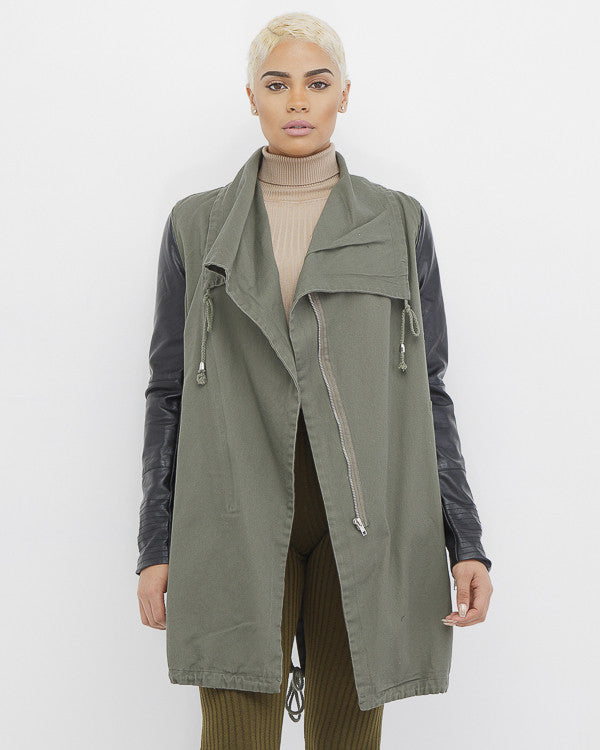 INCOGNITO Military Anorak Jacket in Olive at FLYJANE | Olive Army Green and Black Long Military Jacket for Fall | Cute Military Jacket for Teens and Juniors