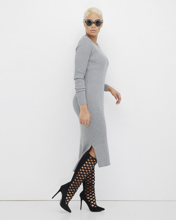 EILEEN Grey Ribbed Knit Maxi Dress at FLYJANE | Cute Knit Dresses with Split at FLYJANE | Kylie Jenner Ribbed Dress | Follow us on Instagram at @FlyJane NOW