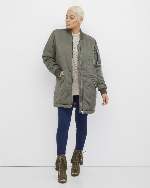 FULL METAL Olive Army Green Bomber Jacket at FLYJANE | Six Crisp Days Bomber Jacket | Army of One Bomber Jacket | Kylie Jenner Long Bomber Jacket | @FlyJane