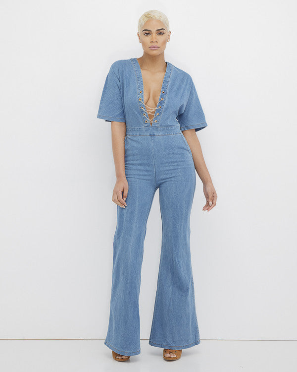 THE HOT CHICK Bell Bottom Denim Jumpsuit at FLYJANE | Denim Jumper | Denim Jumpsuit | Bell Bottom Denim Onepiece Jumpsuit | Flare Jumpsuit | Jean Jumpsuit