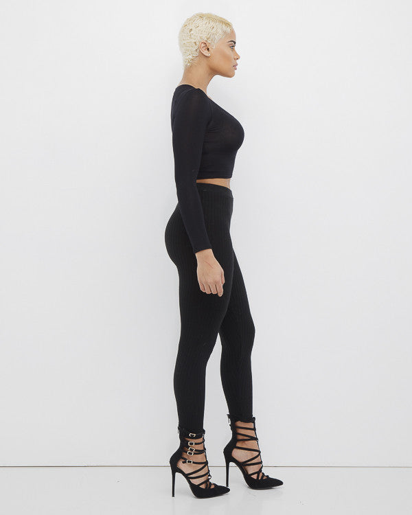 DEEP WAVE Ribbed Knit Leggings in Black at FLYJANE | High Quality Thick Ribbed Knit Leggings under $40 at FLYJANE | Cute Clothes for Winter at FLYJANE