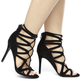 KEFANI LACE UP HEEL - BLACK