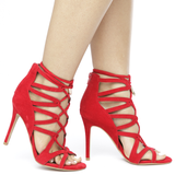 KEFANI Cutout Lace Up Open Toe Heel in Red at FLYJANE | Cute Shoes under $50 | Red Heels | Fashion Heels for Summer 16 | Red Open Toe Cut Out Heels | Hot Shoes