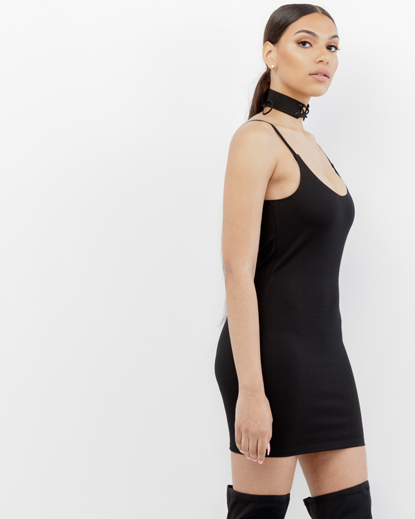THE BAE Spandex Mini Dress in Black at FLYJANE | Cute Bodycon Dresses under $50 | Cute Little Black Dresses under $50 | Kim Kardashian Black Minidress Yeezy Season