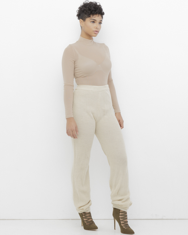MURIEL Beige Woven Knit Jogger Pant in Beige at FLYJANE | Beige Knit Sweater Jogger Pants for Fall 2016 | Follow us on Instagram at @FlyJane | Cute Clothes